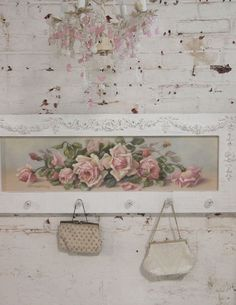 Impresión de lienzo de rosa romántico Shabby Chic Cottage