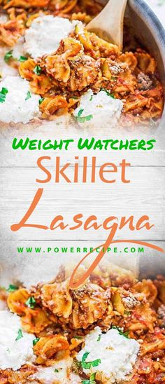 Best Easy Skinny Skillet Lasagna takes just 30 minutes to make in just ONE pot – even the pasta is made in the same pan.No layering & perfect … Ingredients 1 pound extra lean grou… Weight Watchers Meatloaf, Weight Watchers Meals, Good Healthy Recipes, Ww Recipes, Skinny Recipes, Brunch Recipes, Pasta Fagioli Recipe, Chicken Corn Chowder, Skillet Lasagna