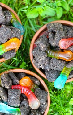 Dirt Puppy Chow ~ easy & fun... Rice Chex Cereal, chocolate melts,  peanut butter, crushed Oreos &  Gummy Worms