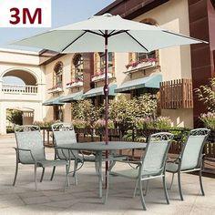 Large Garden Umbrella Parasol Patio Outdoor Shade 3m Canopy Modern Stylish White