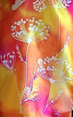 Hand painted silk scarf, delicate Queen Anne's Lace flowers with butterflies on… もっと見る Queen Anne's Lace Flowers, Silk Flowers, Batik Art, Queen Annes Lace, Silk Art, Silk Flower Arrangements, Fabric Painting, Silk Scarves, Silk Fabric