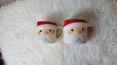 HALLMARK - Lot of 2 Hallmark Santa Mugs - Santa Face Hallmark Cups #Hallmark
