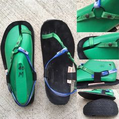Ring Sandal, green and blue smoke polyester on black suede, thick sole. Leather Sandals, Black Suede, Dj, Flip Flops, Ring, Green, Fashion, Zapatos, Shoes Sandals
