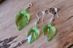 Silver Earring Pendant Set made with Green by CreativeWorkStudios