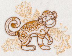 Mehndi Monkey Embroidered Decorative by EmbroideredbySue on Etsy Mandala Tattoo, Arm Tattoo, Sleeve Tattoos, Pin Up Tattoos, Trendy Tattoos, Tatoos, Henna Designs, Tattoo Designs, Monkey Tattoos