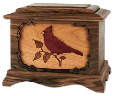 Inlay Art Cremation Urns in Walnut, Oak, and Maple Wood