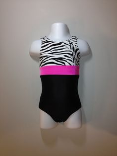 gymnastics leotard - Zebra and Black leotard, you pick middle color. Available in Girls sizes 2 through 13. on Etsy, $25.00