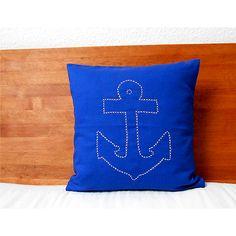 Kissen Anker Kobaltblau 40x40 Handgestickt Herr Fuchs pillow