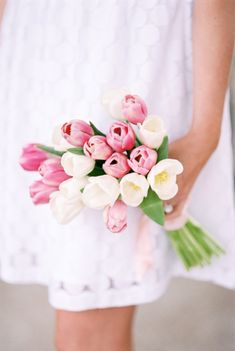 Tulip Bouquet -- http://www.StyleMePretty.com/2014/04/30/spring-picnic-engagement-full-of-blooms/ Photography: LisaDolan.Photography.com
