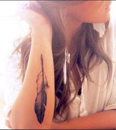 Feather Tattoo via Tumblr very soon my tat will look this solid!!! xoxo