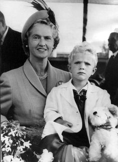 Princess Sibylla of Sweden with her only son and youngest child Crown Prince (future King of Sweden) Carl Gustaf of Sweden.