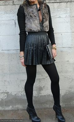 pleated leather skirt & faux fur vest (taken separately I would hate each item with a passion but for some reason together they work so so well ...)
