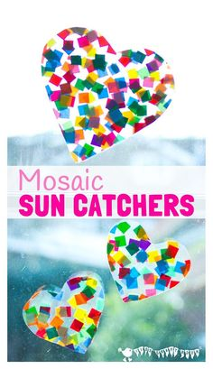 HEART SUNCATCHER MOSAICS for kids look gorgeous! Window art that's pretty, colourful and easily adaptable for kids of all ages. Fun for Valentine's Day, Mother's Day and Summer.