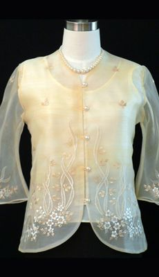 Custom Women's Barong - Barongs R us Modern Filipiniana Dress, Line Shopping, Well Dressed, Formal Dresses, Stylish, Lady, Suits, Barong Tagalog, Clothes