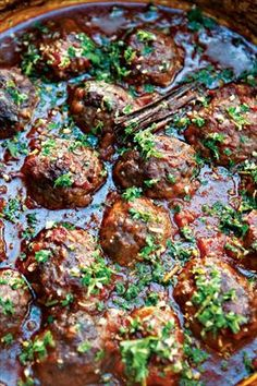 lamb meatballs.  it's what's for dinner tonight.  Recipe pretty good, but a bit labor intensive.  Also I'm reducing the cooking time in the oven to 1 hour.  Since it's hot when it goes in the oven an hour and half just sounds like over cooking ~