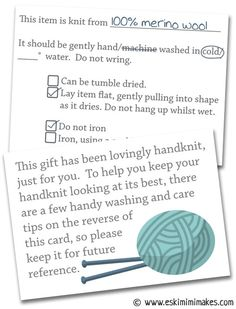 Knitters' Gift Tags With Care Instructions | Eskimimi Makes