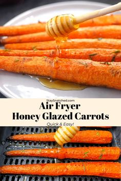 These Roasted Air Fryer Carrots are served sweet with honey garlic butter or savory with thyme and garlic. Add this delicious side dish to your weeknight dinners! #AirFryer Mexican Food Recipes, Vegetarian Recipes, Cooking Recipes, Healthy Meals, Healthy Eating, Healthy Recipes, Side Dish Recipes, Side Dishes, Buzzfeed Food Videos
