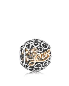Pandora Charm - Sterling Silver & 14k Gold Message of Love, Moments Collection