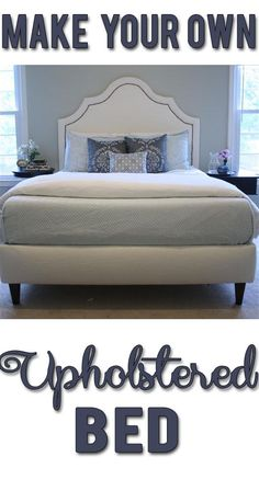 DIY upholstered bed! Includes materials list, costs and complete step-by-step instructions! Add a couple nightstands and you have a complete designer-inspired bedroom set.