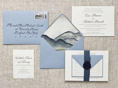 Mountain Watercolor Wedding Invitation, Mountain Invitation, Lake Invitation, Blue Invitation, Custom Wax Seal, Bespoke Wedding Invitation, Navy Calligraphy, Lake Wedding, Mountain Wedding, Elegant Wedding, Mountains