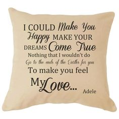 Adele Make You Feel My Love Song Lyrics Cushion Cover Wedding Anniversary Gift Valentines Day Gift Christmas Love Perfect Gift For Him Her