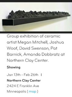 #ArtOpening @NorthernClayCtr Clay art installation Opening Fri 1/13, 6-8pm  NorthernClayCtr 2424 E Franklin Ave-Mpls