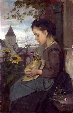 A Girl Seated Outside A House Jacob Henricus Maris (1837 – 1899, Dutch)