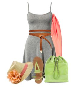 """""""Coral, Lime + Gray"""" by lbite ❤ liked on Polyvore featuring Topshop, Faclover and ASOS"""