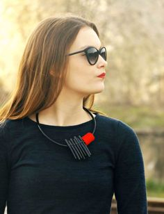 Red statement necklace  Black popular necklace  by PevalekArt