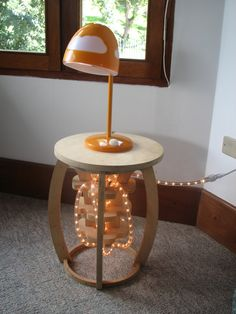 Jelly Fish CNC wood bed side table. $175.00, via Etsy.