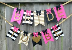 Kate Spade banner perfect for any occasion. by NishsCreations on Etsy Glitter Hearts, Black Glitter, Bride To Be Banner, Secret Party, Baby Banners, Glitter Cardstock, Gold Polka Dots, Just Giving, Maid Of Honor