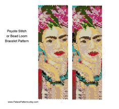 Frida Kahlo Face Bracelet Pattern Even Count by PalacePatterns