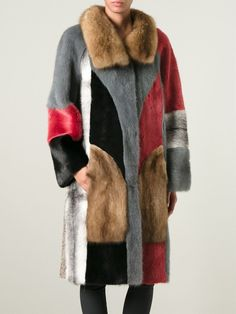 Liska Oversized Mink, Lamb And Sable Fur Coat