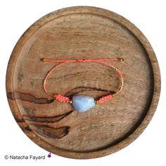 Friendship macrame bracelets with blue chalcedony natural gemstones and gold miyuki seed beads.   © Natacha Fayard   #friendship #bracelet #macrame #chalcedony #blue #gold #miyuki #delica #neon #pink #yellow #orange #coral #etsy