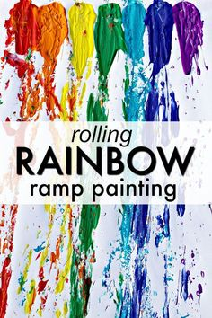 Rolling Rainbow Ramp Painting -Action art for kids. Great for preschool rainbow or balls theme!