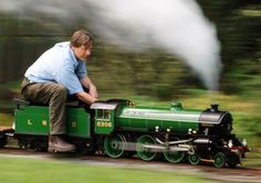 The Author at Speed!  This is Chris driving Bongo, the locomotive he built over 8 years.  Bongo is the model for Fiery Fox in the books