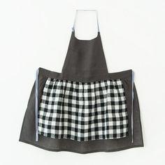 skip-step / otona apron いちじく/リネン+チェック