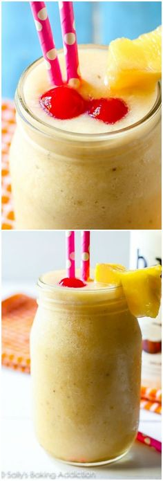 Tropical Pina Colada Smoothies. This banana + pineapple + coconut + vanilla smoothie is a  beach vacation in a glass!