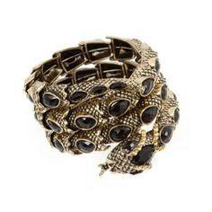 BMC Gold Metal Black Resin Rhinestone Snake Coil Design Fashion Bangle Bracelet
