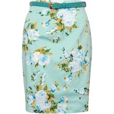 Rare London Floral Print Belted Skirt ($9.98) ❤ liked on Polyvore featuring skirts, bottoms, saias, green, green floral skirt, floral printed skirt, summer pencil skirt, fitted pencil skirt and floral knee length skirt