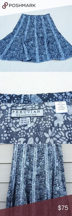 """Peruvian connections Floral Skirt Peruvian Connection Womens 12 Blue Floral A Line Skirt Knee Length UK 16  Length:26"""" Waist:16""""?  Gently used with no flaws. Please see photos for exact details. Thank you for patronizing us. Peruvian Connections   Skirts A-Line or Full"""