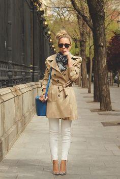 pretaportre:  Priscila Betancort [My Showroom Blog]in Zara Jeans, Pilar Burgos heels, Zara trench, Lefties bag, and a Primark scarf.
