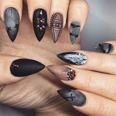 I am ready for HALLOWEEN #yegnails #closeup # ALL DONE BY FREEHAND PAINTED #edmontonnails #clientview #780nails #edmontonnailtech #cute #fade #edmlifestyle #edm #swarovski #blingnails #acrylicnails #fullset #yegnailtech #lacenails #nails #handpainted #freehanddesign #colors #nailart #no19 #vetrogel #silverleaf #goldleaf #nails #halloweennails #blacknails #blackdesign