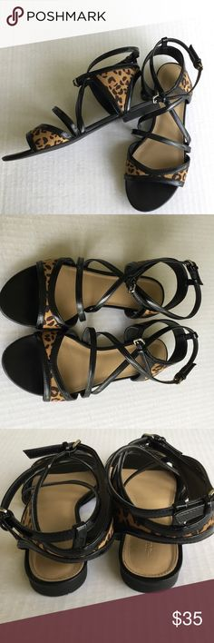"""Leopard / Cheetah Ankle Strap Sandals by Zara 37 Summer MUST-HAVE!!! Zara Trafaluc Sandals Leopard / Cheetah Print Black Strappy Flats Size: EUR 37 US size 6.5-7 Condition: Well cared for pre-owned, no condition issues  No longer available at Zara Man-made leopard print fabrication with faux leather trim and straps Lightly padded insoles Rubber outer soles  MEASUREMENTS: Insole Length: 9.25"""" Ball of Foot Width: 3"""" Zara Shoes Sandals"""