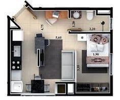 casa pequena com quarto sala e cozinha integrados e banheiro - Pesquisa Google