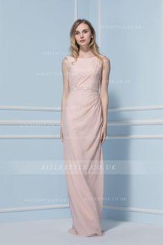Scoop Neck Sleeveless Sheath Pearl Pink Chiffon Bridesmaid Dress with Crystal Band
