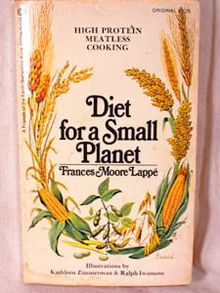 Diet for a Small Planet - Frances Moore Lappé - Diet for a Small Planet is a 1971 bestselling book by Frances Moore Lappé, the first major book to note the environmental impact of meat production as wasteful and a contributor to global food scarcity. She argued for environmental vegetarianism, which means choosing what is best for the earth and our bodies — a daily action that reminds us of our power to create a saner world.