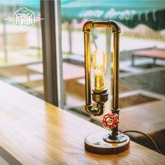 Wood Water Pipe Industrial Vintage Table Lamp Light  For Bedroom Loft Style Luminaria Abajur Para Quarto Lamparas De Mesa water pipe table lamp abajur table lamp table lamps for bedroom lamparas de mesa bedside lamp retro styling puppy