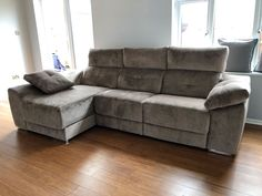 This modern sofa features electric recliners with adjustable headrests, storage under chaise and inside sofa arm provides additional practicality. Available in several sizes and configurations. Delivered to our client in Epsom. Modern Sofa, Modern Bedroom, Contemporary Furniture, Recliners, Sofas, Leather Bed, Sofa Design, Electric, Arm