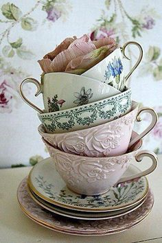 Vintage shabby pastel tea cups collection display Shop www.rubylanecom @rubylanecom
